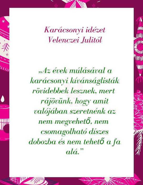 Karácsonyi idézet Velenczei Julitól